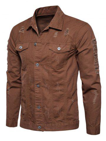 Affordable Button Up Distressed Cargo Jacket - COFFEE L Mobile