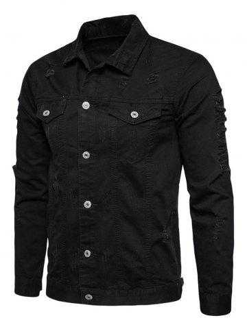 Online Button Up Distressed Cargo Jacket - BLACK L Mobile