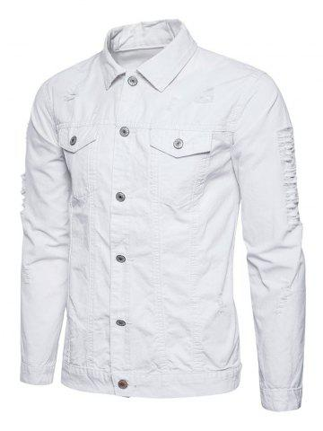 Hot Button Up Distressed Cargo Jacket - WHITE XL Mobile