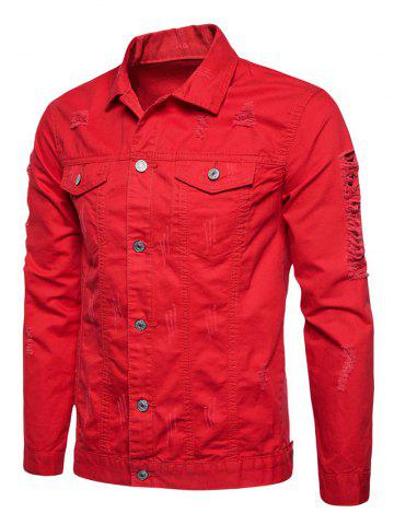 Online Button Up Distressed Cargo Jacket - RED XL Mobile
