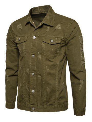 Hot Button Up Distressed Cargo Jacket - M ARMY GREEN Mobile