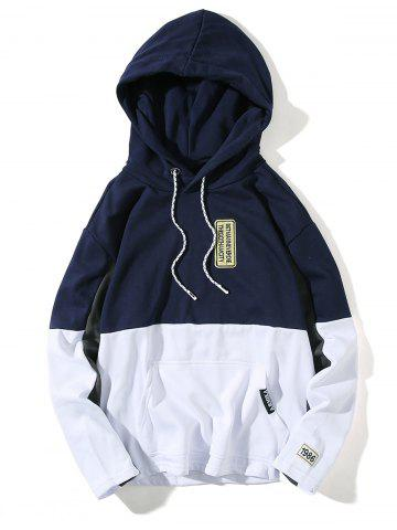 Outfits Color Block Embroidered Appliques Pullover Hoodie - M DEEP BLUE Mobile