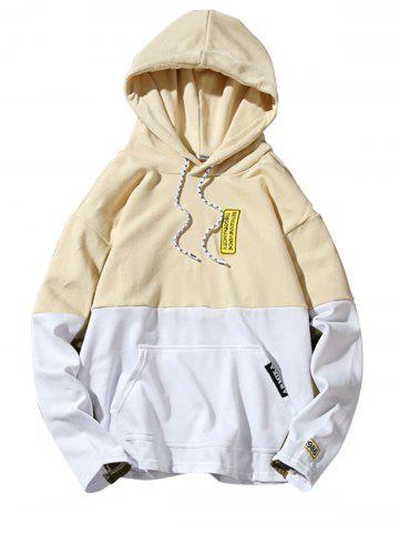 Color Block Embroidered Appliques Pullover Hoodie Jaunâtre XL