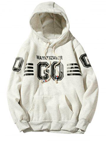 Buy Graphic Stripe Print Fleece Pullover Hoodie OFF-WHITE 2XL