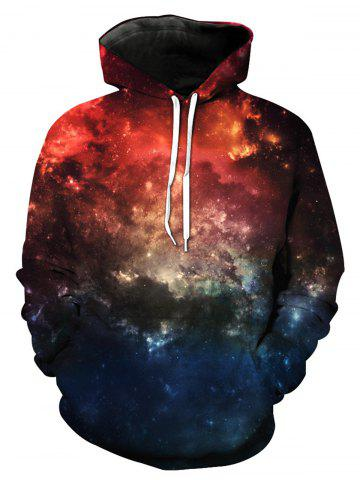 Chic Long Sleeve 3D Galaxy Print Pullover Hoodie COLORMIX M
