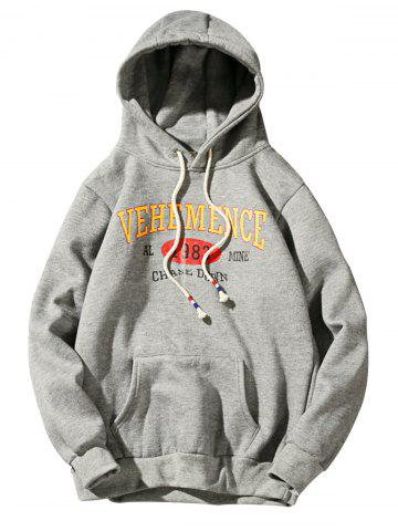 Chic Graphic Print Fleece Pullover Hoodie - M DEEP GRAY Mobile