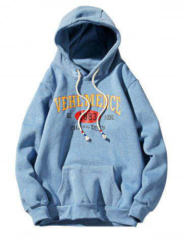 Chic Graphic Print Fleece Pullover Hoodie - M AZURE Mobile
