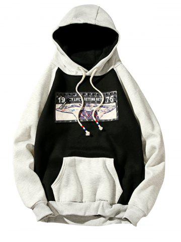 Buy 3D Figure Print Applique Zipper Pullover Hoodie - L BLACK Mobile