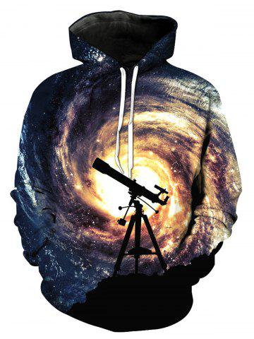 Fancy Telescope Galaxy 3D Print Pullover Hoodie COLORMIX XL
