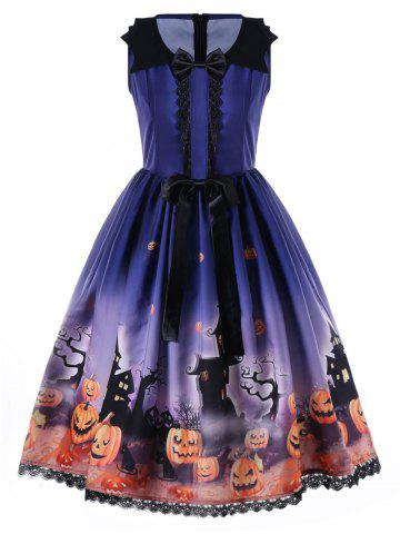 Affordable Halloween Bowknot Embellished Swing Dress - 2XL BLUE Mobile