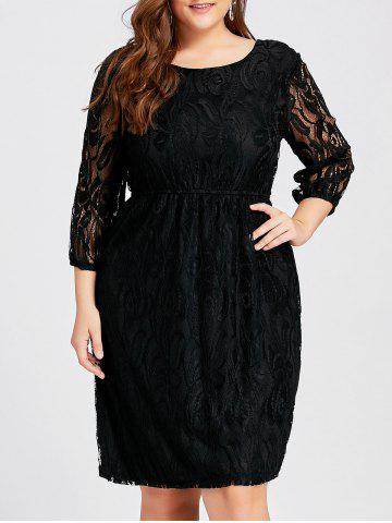 Outfit Cutout  Empire Waist Plus Size Lace Dress - 2XL BLACK Mobile