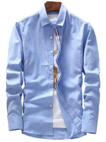 Fashion Stripe Embroidery Covered Button Casual Shirt AZURE 3XL