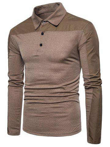 Affordable Long Sleeve Polyester Panel Polo T-shirt - XL COFFEE Mobile