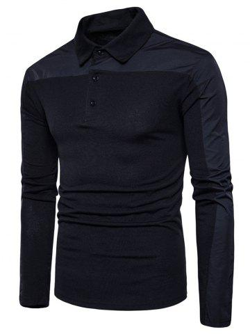 Fancy Long Sleeve Polyester Panel Polo T-shirt - XL BLACK Mobile