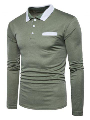 Chic Edging Long Sleeve Polo T-shirt ARMY GREEN M