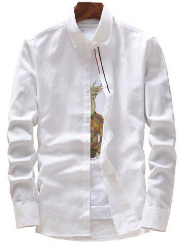 Chic Stripe Embroidery Covered Button Casual Shirt WHITE 4XL