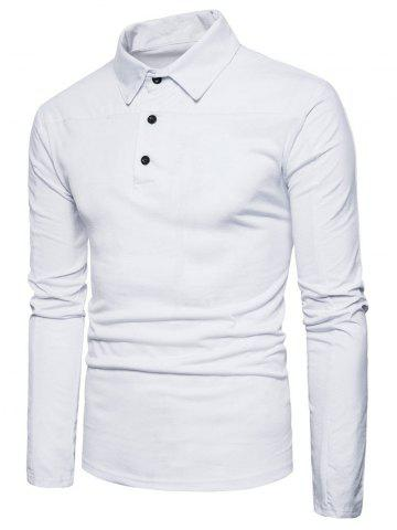 Chic Long Sleeve Polyester Panel Polo T-shirt WHITE L