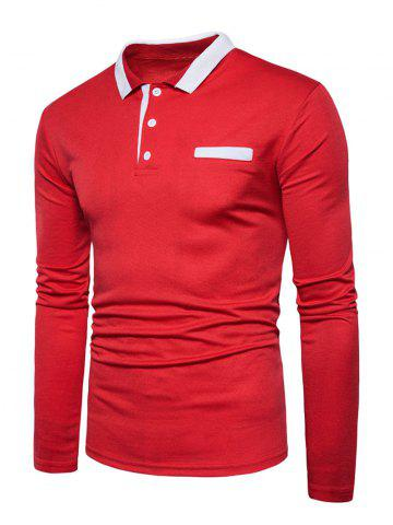Trendy Edging Long Sleeve Polo T-shirt - L RED Mobile