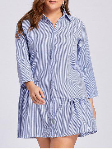 Robe à bout rayé taille taille taille dominante Bleu 3XL