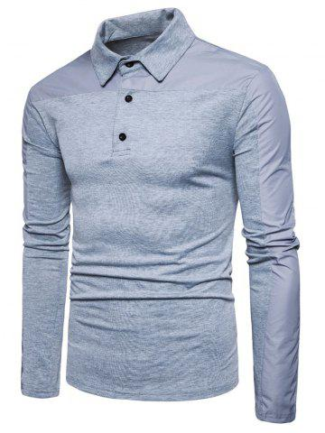 New Long Sleeve Polyester Panel Polo T-shirt LIGHT GRAY 2XL