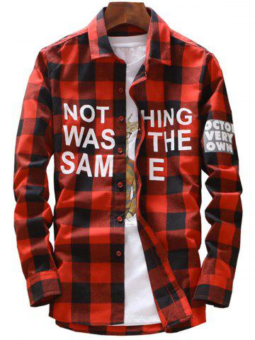Buy Long Sleeve Graphic Print Plaid Shirt RED 5XL