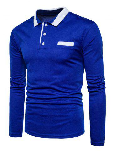 Trendy Edging Long Sleeve Polo T-shirt - 2XL ROYAL Mobile