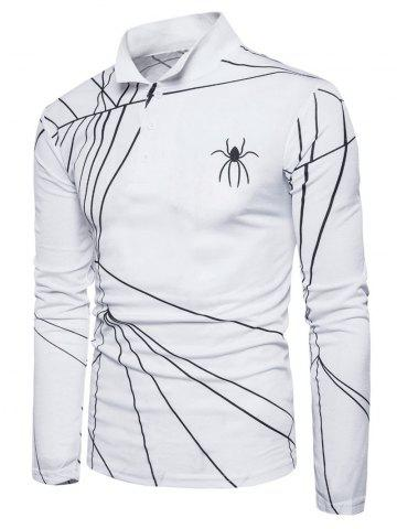 Chic Spider Web Print Long Sleeve Polo T-shirt WHITE S