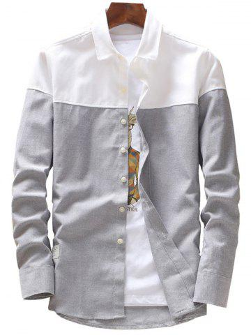 Unique Casual Two Tone Long Sleeve Shirt - 4XL GRAY Mobile