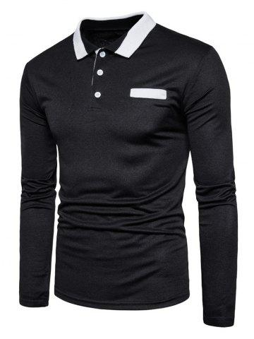 Unique Edging Long Sleeve Polo T-shirt BLACK XL