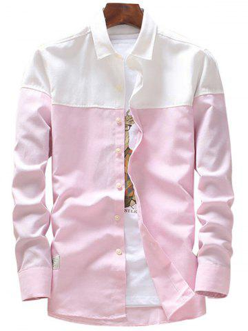 New Casual Two Tone Long Sleeve Shirt - 4XL PINK Mobile