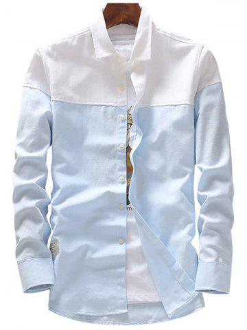 Store Casual Two Tone Long Sleeve Shirt - 4XL LIGHT BLUE Mobile