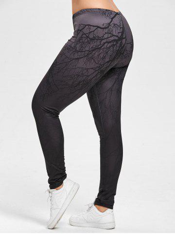 Chic Halloween Plus Size Ombre Branches Print Leggings - 2XL DEEP GRAY Mobile