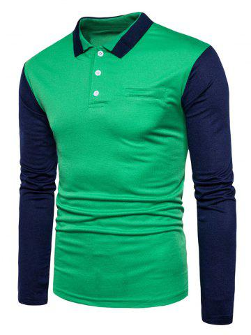 Store Color Block Long Sleeve Polo T-shirt GREEN 2XL
