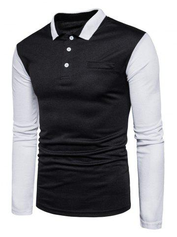 Latest Color Block Long Sleeve Polo T-shirt - 2XL BLACK Mobile