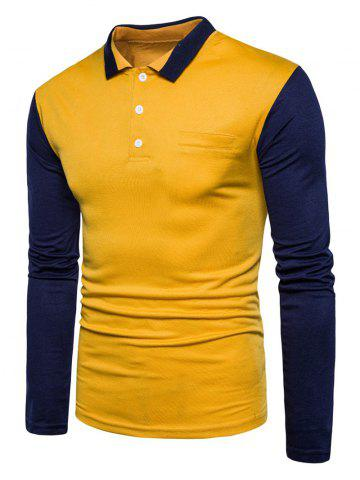 Trendy Color Block Long Sleeve Polo T-shirt - XL YELLOW Mobile
