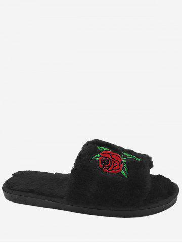 New Open Toe Faux Fur Embroidery Flower Slippers - SIZE(38-39) BLACK Mobile