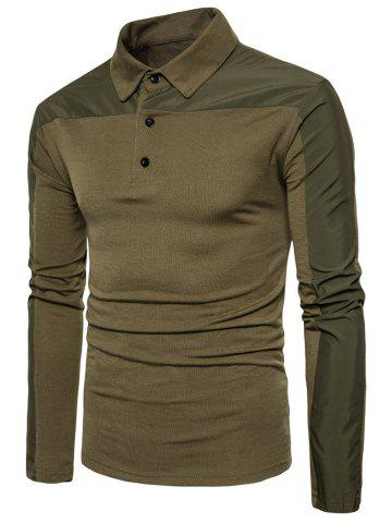 Outfits Long Sleeve Polyester Panel Polo T-shirt - S ARMY GREEN Mobile