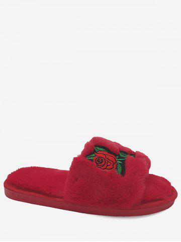New Open Toe Faux Fur Embroidery Flower Slippers RED SIZE(38-39)