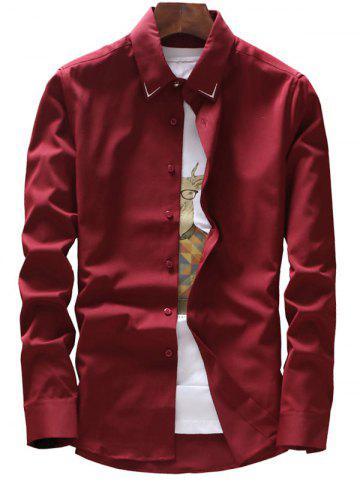 Latest Embroidery Detail Long Sleeve Shirt - 3XL WINE RED Mobile