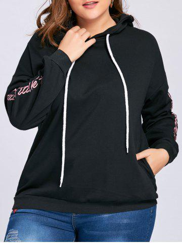 Latest Plus Size Floral Letter Embroidered Drop Shoulder Hoodie BLACK 2XL
