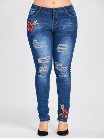 Outfit Plus Size Floral Patched Destroyed Jeans CERULEAN 3XL