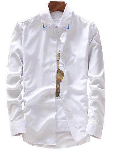 Shop Embroidery Detail Long Sleeve Shirt - 3XL WHITE Mobile