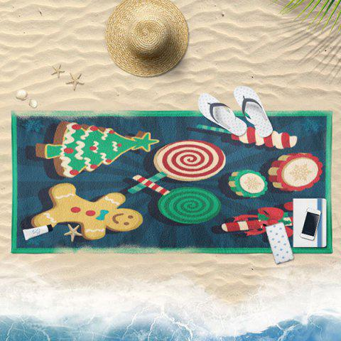Trendy Christmas Biscuit Candy Print Bath Towel