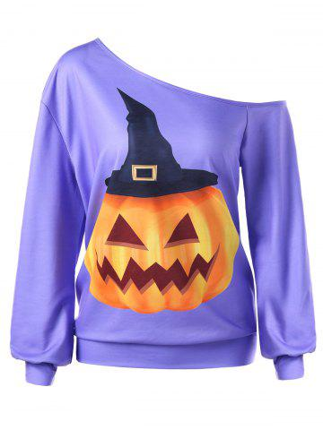Outfit Halloween Plus Size Skew Neck Pumpkin Print Pullover Sweatshirt PURPLE XL