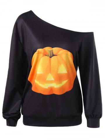 Best Halloween Plus Size Pumpkin Print Skew Neck Pullover Sweatshirt - XL BLACK Mobile