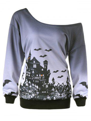 Shops Plus Size Halloween Skew Collar Sweatshirt - XL GRAY Mobile