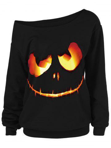 Unique Halloween Ghost Face Plus Size Skew Neck Sweatshirt BLACK 2XL