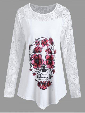 Affordable Plus Size Asymmetrical Halloween Floral Skull Tee