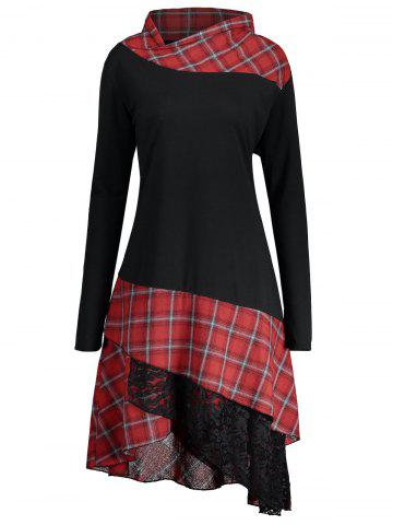Chic Long Plus Size Lace Plaid Panel Top BLACK AND RED 2XL