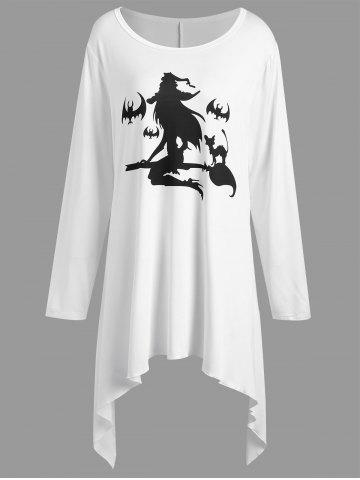 Chic Plus Size Halloween Witch Print Asymmetrical T-shirt WHITE XL